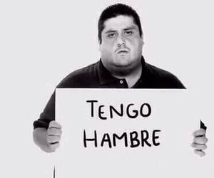 black and white, funny, and tengo hambre image