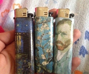 art, lighter, and van gogh image