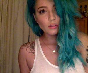 halsey, badlands, and blue hair image