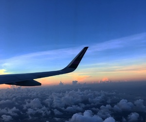 clouds, sunset, and airplane image