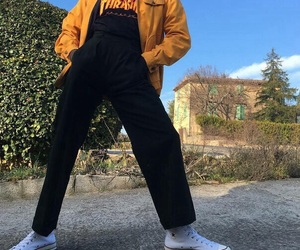 yellow, thrasher, and aesthetic image