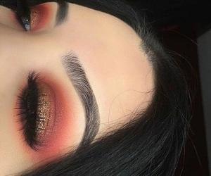 makeup, orange, and eyebrows image
