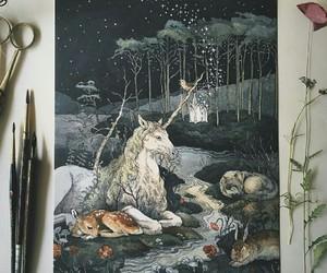 fantasy, flowers, and unicorn image