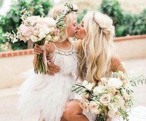 daughter and flowers image