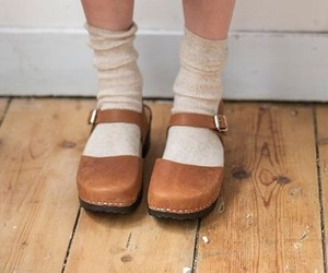 brown, wooden floor, and clogs image
