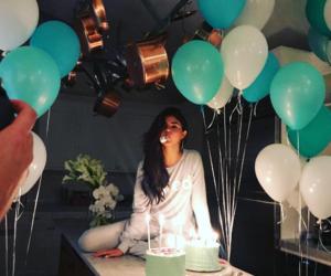 balloon, cake, and girl image