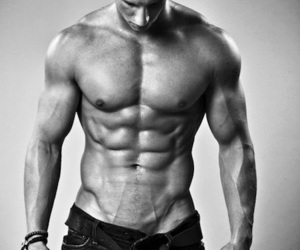 abs, black and white, and body image