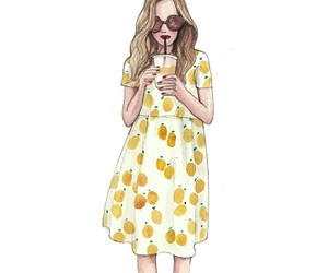 fashion illustration, printed dress, and pinodesk image