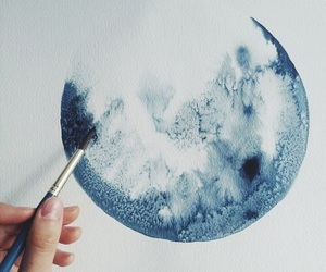 blue, painting, and moon image