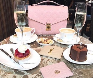 cake, champagne, and gucci image