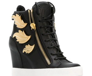 black, gold, and wedge sneakers image