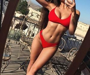 bikini, red, and fashion image