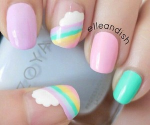 nails, pastel, and rainbow image