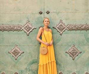 beachwear, street style, and yellow dress image