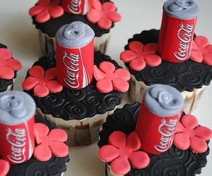 coca cola, cupcakes, and food image
