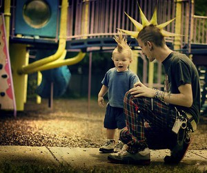 child, dad, and punk image