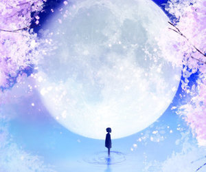anime, blue, and flower image