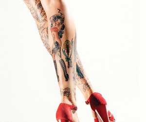 legs, tattos, and pin image