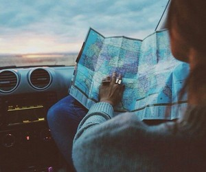 car, girl, and map image