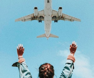 girl, airplane, and photography image