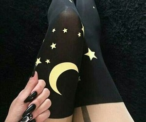 moon, nails, and black image