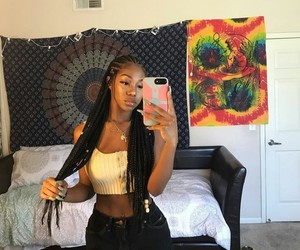 braids, long, and hair image