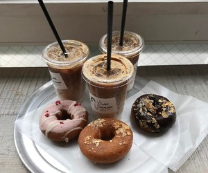 donuts, coffee, and drink image