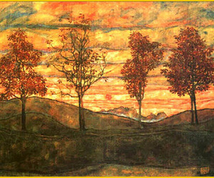art, trees, and painting image