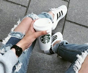 adidas, fashion, and starbucks image