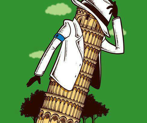 king of pop, leaning tower of pisa, and funny image