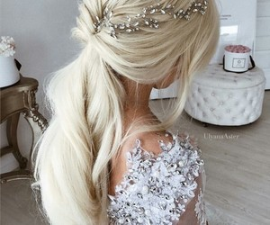 hair, blonde, and bride image