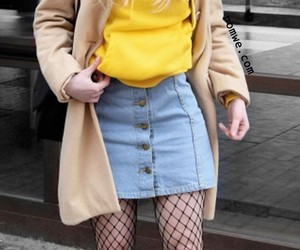 yellow hoodie, long straight blonde hair, and black fishnet tights image