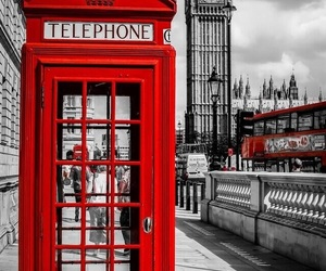 london, red, and telephone image