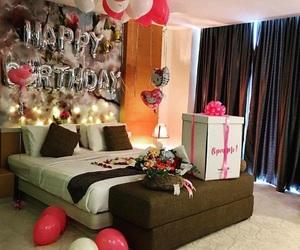 balloons, birthday, and gift image
