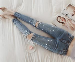 chic, denim, and ripped image