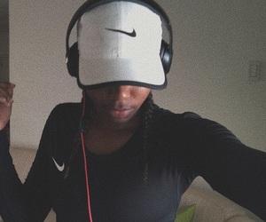 black, cap, and headphone image