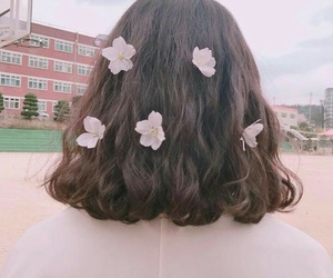 flowers and short hair image