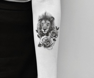 aesthetic, lion, and rose image