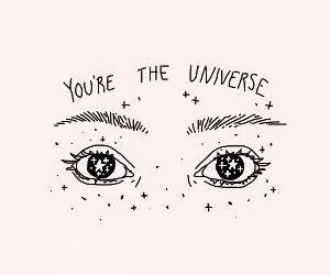drawing, eyes, and universe image