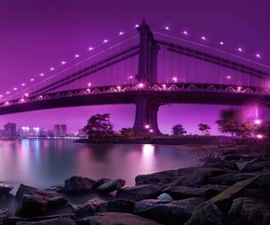 purple, bridge, and night image
