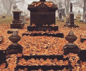 graveyard, autumn, and fall image