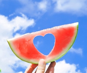 watermelon, fruit, and heart image
