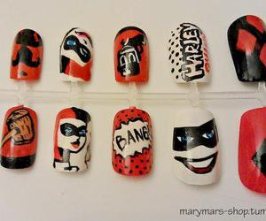 batman, harley quinn, and nail art image