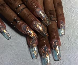 acrylic, nails, and blue image