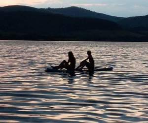 girl, paddle, and sunset image