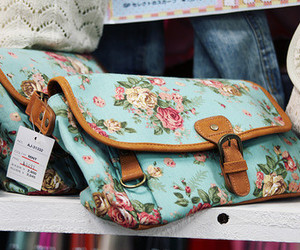 bag, floral, and flowers image