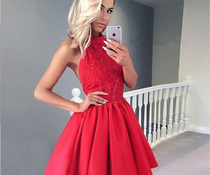 backless dress, red dress, and homecoming dress image