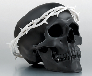 art, skull, and crown of thorns image