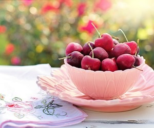 bowl, breakfast, and cherries image