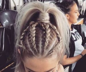 beauty, dutch braids, and blonde image